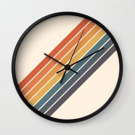 Arida -  70s Summer Style Retro Stripes Wall Clock