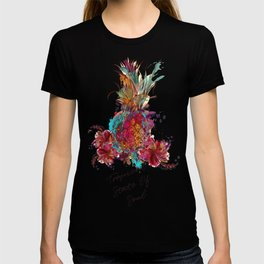 Beautiful tropical illustration colorful pineapple T-shirt
