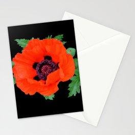 Orange oriental poppy on black Stationery Cards