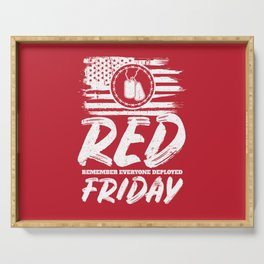 Remember Deployed Red Friday USA Military Serving Tray