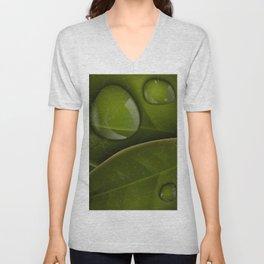dew drops on green leaves Unisex V-Neck