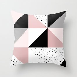 Geometrical pink black gray watercolor polka dots color block Throw Pillow
