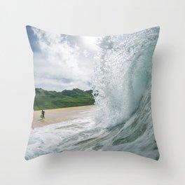 Hawaiian Shorebreak Throw Pillow