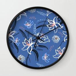 blue lily Wall Clock