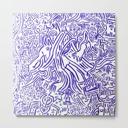 Collective tribal multiverse - blue edition Metal Print