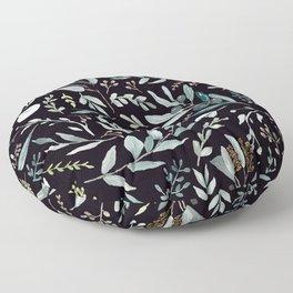 Black Eucalyptus Pattern Floor Pillow