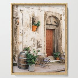 Old street with plants in Bonifacio | Travel Photography France | Fine Art Photo Print Serving Tray