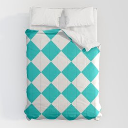 Large Diamonds - White and Cyan Comforters
