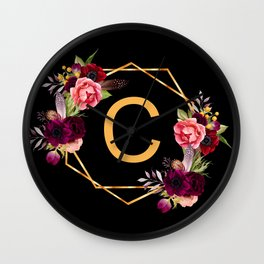 Monogram C initial - gold geometric with florals black Wall Clock