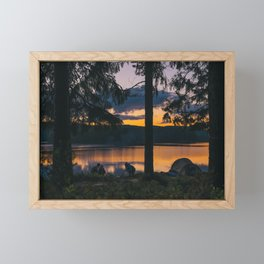 Camping by the Lake Framed Mini Art Print