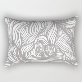 Grey Tangles Hand drawn Ink Illustration by Anna Tangles Rectangular Pillow