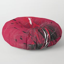 Rising - Black and red abstract splash painting by Rasko Floor Pillow
