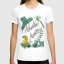 Adventure Awaits Jungle Illustration Quote T-shirt