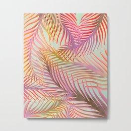 Tropical Palms Pattern - Pink, Purple, Orange Metal Print