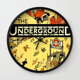 Vintage Lure of the London Underground Subway Travel Advertisement Poster Wall Clock
