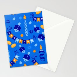 Happy Hanukkah Holiday Candles and Dreidels Pattern Stationery Cards