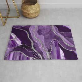 Purple Marble Agate Silver Glitter Glam #1 (Faux Glitter) #decor #art #society6 Rug
