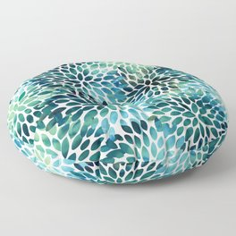Floral Watercolor, Navy, Blue Teal, Abstract Watercolor Floor Pillow