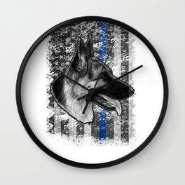 Thin Blue Line German Shepherd Police Dog K9 design Wall Clock