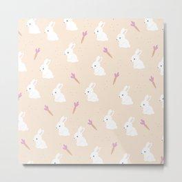 Bunny garden and carrots spring rabbits kids design pink blush girls Metal Print