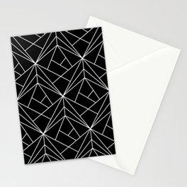 White Geometric Pattern on Black Background Stationery Cards