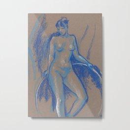 Blue Girl with Gymnastic Circle, Nude Sketch, Artistic Nudity Metal Print