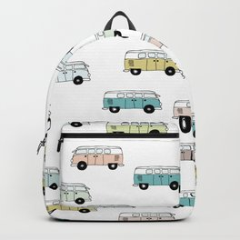 Happy Camper Van Bus blue traveling hippie summer pattern design print Backpack