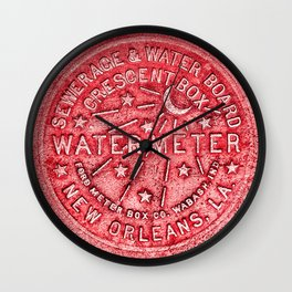New Orleans Water Meter Louisiana Crescent City NOLA Water Board Metalwork Red Wall Clock