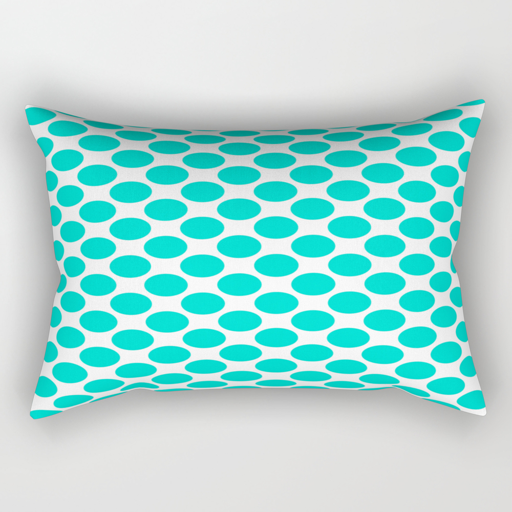 White- Blue Polka Dot Rectangular Pillow RPW7756185