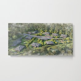 Aerial view of a townhouse village / gated community in the foggy morning, 3d rendering Metal Print