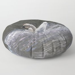 Swan's Lake - Preening Trumpeter Swan Floor Pillow