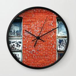 Old Windows Bricks Wall Clock