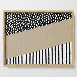 Polka Dots and Stripes Pattern (black/white/tan) Serving Tray
