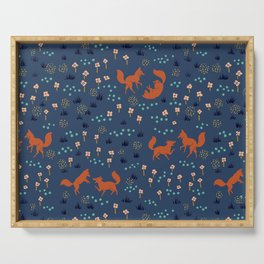 Playful Fox Cubs Serving Tray