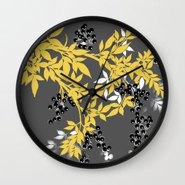 TREE BRANCHES YELLOW GRAY  AND BLACK LEAVES AND BERRIES Wall Clock
