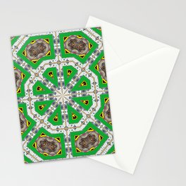 Green Octagons Stationery Cards