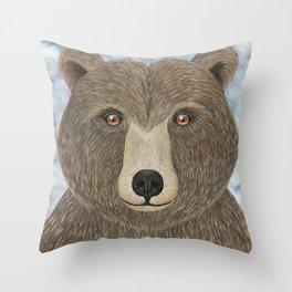 brown bear woodland animal portrait Throw Pillow