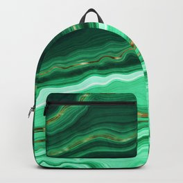Gold And Malachite Marble Backpack