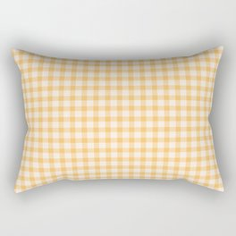 Gingham Checkered Patchwork in Orange Yellow. Rectangular Pillow