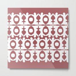 Coral Yoga Pattern Metal Print