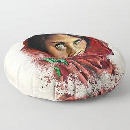 Afghan Girl - Sharbat Gula Painting Floor Pillow
