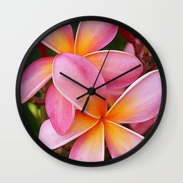 Tropical Hawaiian Plumerias Popping in Pink Wall Clock