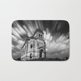 Abandoned Chapel under stars and streaks of clouds, Ukraine black and white photograph - photography Bath Mat