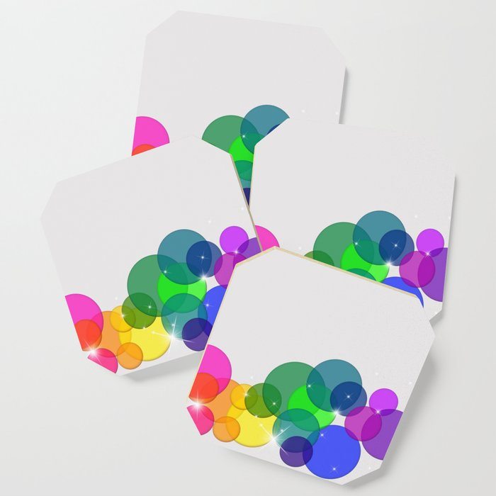 Translucent Rainbow Colored Circles with Sparkles - Multi Colored Coaster