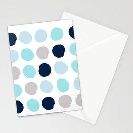 Minimal painted dot polkaed ot pattern blue navy indigo gender neutral nursery Stationery Cards