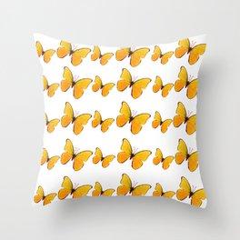 DECORATIVE WHITE  ART OF YELLOW BUTTERFLIES Throw Pillow