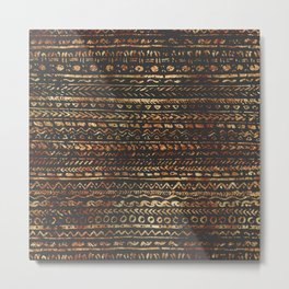 Modern Dark Brown Copper Tribal Ethnic Pattern Metal Print