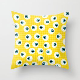 Cute Blue Eyes on Yellow Background Throw Pillow