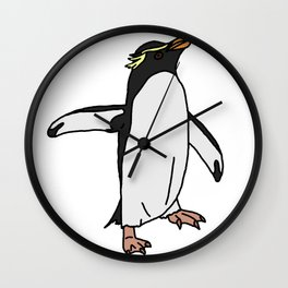 Southern Rockhopper Penguin Wall Clock