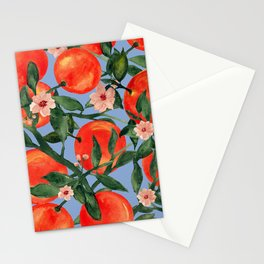 Orange garden watercolor botanical art Stationery Cards